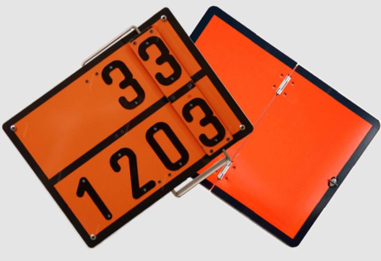 Таблички оранжевого цвета складные и переключаемые